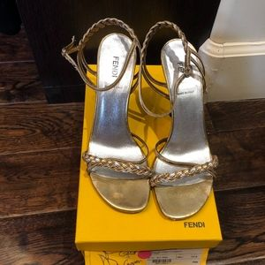 Fendi leather sandals gold and copper size 37.5